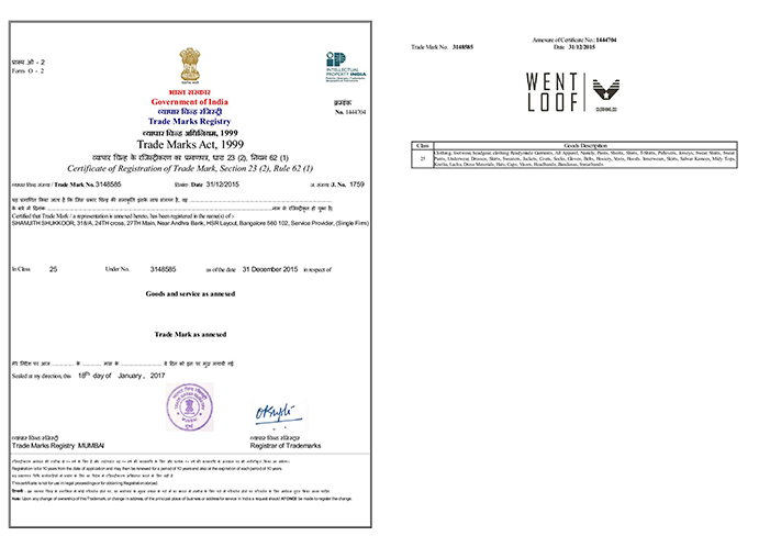 Sample Trademark Certificate